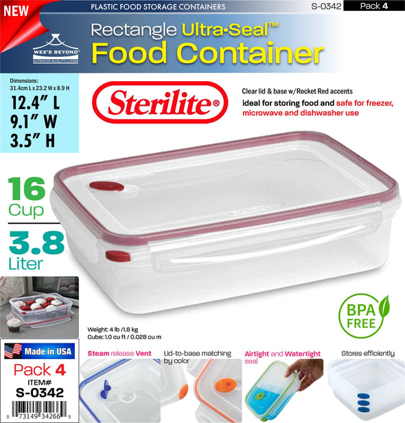 #S-0342 Sterilite Plastic Ultra¥Sealª 16.0 Cup Rectangle (case pack 4 pcs)