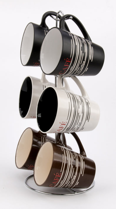 #8008-A Mug Tree Set- 6 Mugs with Stand 12oz V Shape (case pack 6 pcs)