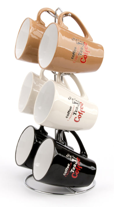 #8008-C Mug Tree Set- 6 Mugs with Stand 12oz Twisted (case pack 6 pcs)