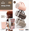 #8008-D Mug Tree Set- 6 Square 11oz Mugs with Stand (case pack 6 pcs)