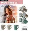 #8008-H Leaves Design 12oz 6 Coffee Mugs with stand (case pack 6 pcs)