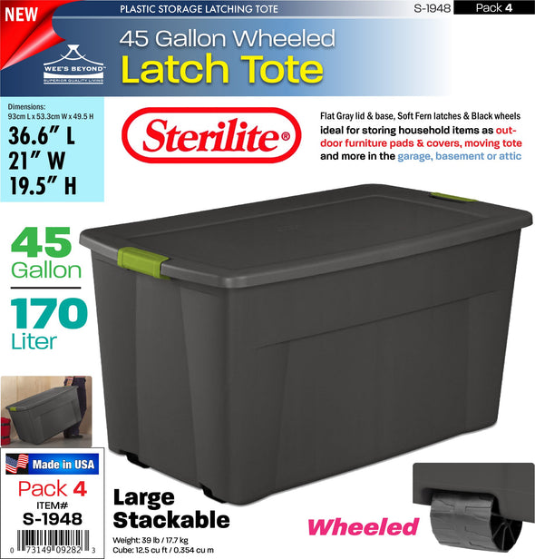 #S-1948 Sterilite Plastic 45 Gallon Latch Tote (case pack 4 pcs)