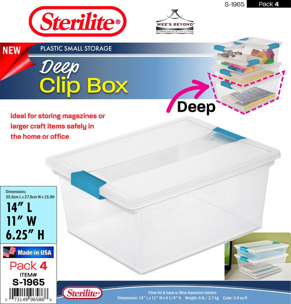 #S-1965 Sterilite Plastic Deep Clip Box (case pack 4 pcs)