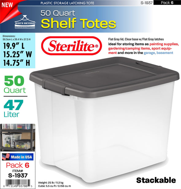 #S-1937 Sterilite Plastic 50 Quart ShelfTotes Box (case pack 6 pcs)