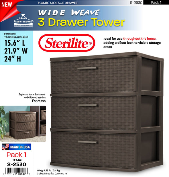 #S-2530 Sterilite Plastic 3 Drawer Wide Weave Tower