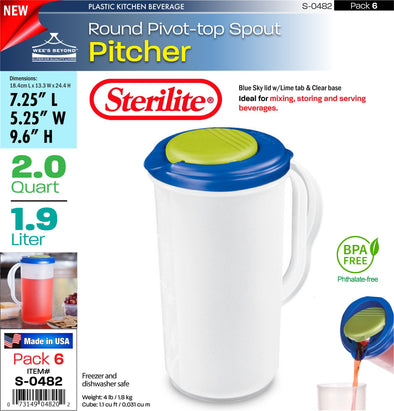 #S-0482 Sterilite Plastic 2 Quart Round Pitcher w/Lime Tab (case pack 6 pcs)