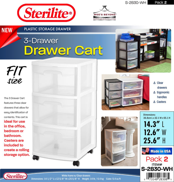 #S-2830-WH Sterilite Plastic 3 Drawer Cart - White (case pack 2 pcs)