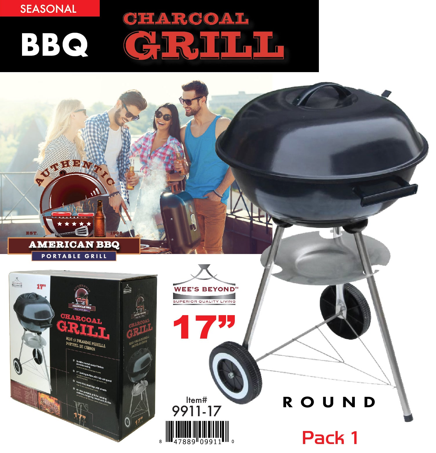 9911 17 Wee S Beyond Bbq Charcoal Grill 17 Quot Round Black