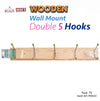 #A01-900632 Wooden Wall Mount Double 5 Hook (case pack 72 pc)