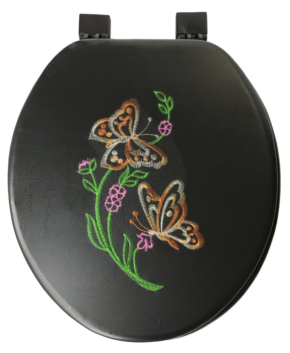 #B261-BLK-T12 Embroidery Soft Toilet Seat - Black (case pack 6 pcs)