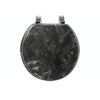 #B264-MBK-M80 Marbleized Wood Toilet Seat - Black (case pack 6 pcs)