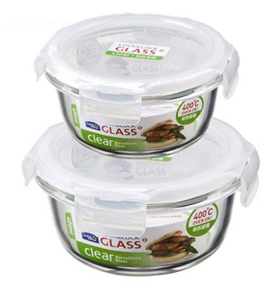 #B942-G1004-2 Round Glass Food Container Set of 2 (case pack 12 pcs)