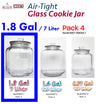 #B957-HM050-1 Glass Cookie Jar w/Airtight Lid 1.8 Gallon (case pack 4 pcs)