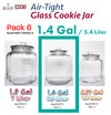 #B957-HM050-2 Glass Cookie Jar w/Airtight Lid 1.4 Gallon (case pack 6 pcs)