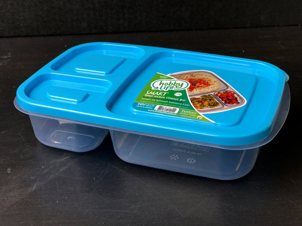 #W02-1382 Smart 3-Divided Food Storage Box- Display Pack (case pack 36 pcs)