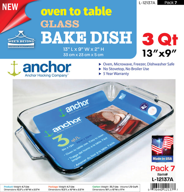 #L-12137A Oven to Table Glass Bake Dish (case pack 7 pcs)