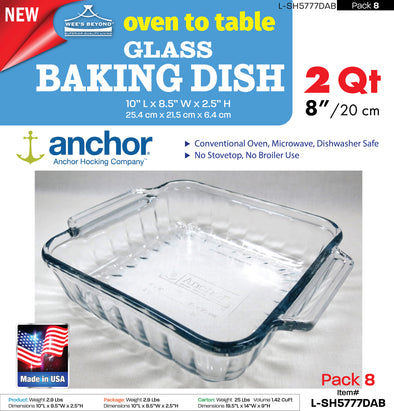 (#L-SH5777DAB) Oven to Table Glass Baking Dish (case pack 8 pcs)