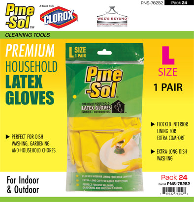 #PNS-76252 Pine-Sol Premium Household Latex Gloves - Large (case pack 24 pcs)