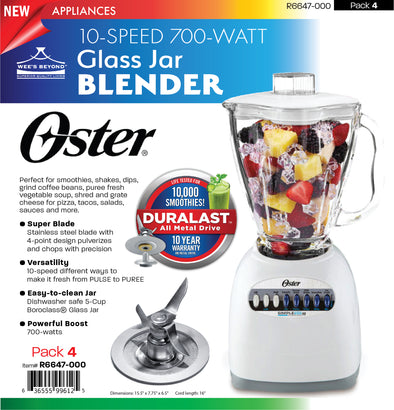 #R6647-000 Oster 10-speed Glass Jar Blender (case pack 4 pcs)