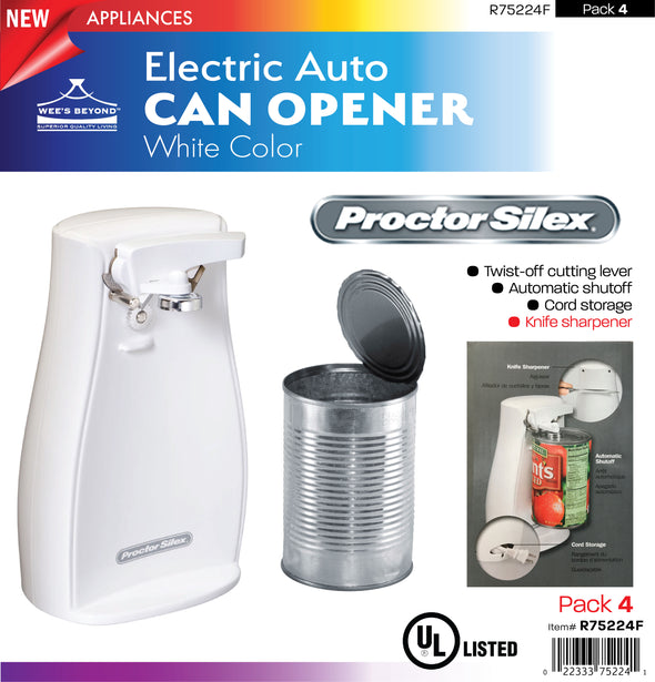 #R75224F Electric Auto Can Opener - White (case pack 4 pcs)