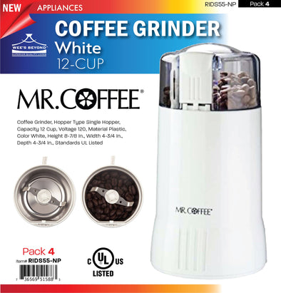 #RIDS55-NP Mr. Coffee 12-cup White Coffee Grinder (case pack 4 pcs)
