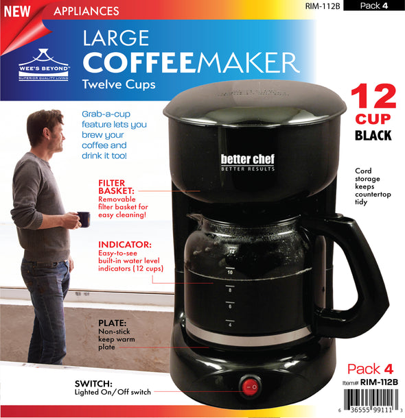 #RIM-112B Large 12-cup Coffee Maker (case pack 4 pcs)