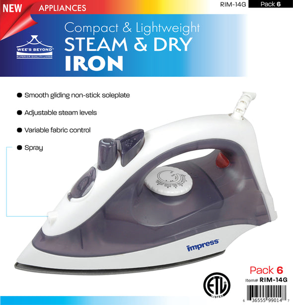 #RIM-14G Compact & Lightweight Steam & Dry Iron (case pack 6 pcs)