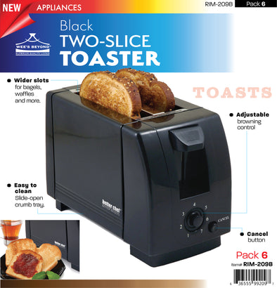 #RIM-209B Two-slice Toaster - Black (case pack 6 pcs)