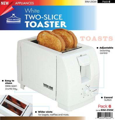 #RIM-210W Two-slice Toaster - White (case pack 6 pcs)