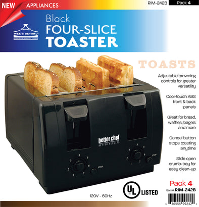 #RIM-242B Four-slice Toaster - Black (case pack 4 pcs)