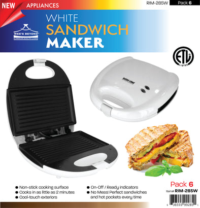 #RIM-285W Sandwich  Maker - White (case pack 6 pcs)
