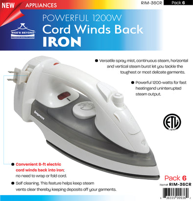 #RIM-36CR Powerful 1200W Cord Winds Back Iron (case pack 6 pcs)