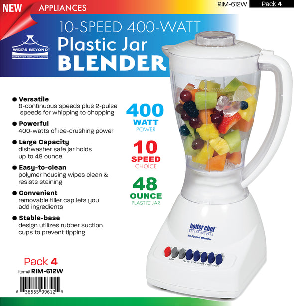 #RIM-612W 10-Speed 400-Watt Plastic Jar Blender (case pack 4 pcs)