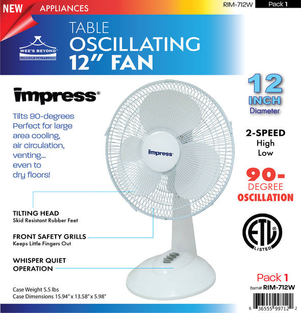 "#RIM-712W Oscillating 12"" Table Fan - White (case pack 1 pc)"