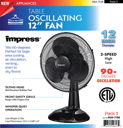 "#RIM-713B Oscillating 12"" Table Fan - Black (case pack 1 pc)"