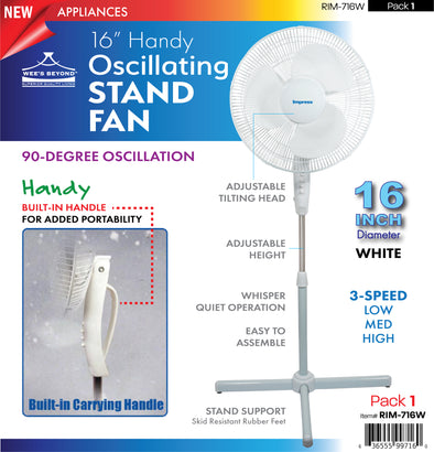 "#RIM-716W Handy Oscillating 16"" Stand Fan - White (case pack 1 pc)"