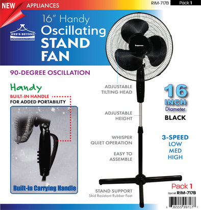 "#RIM-717B Handy Oscillating 16"" Stand Fan (case pack 1 pc)"