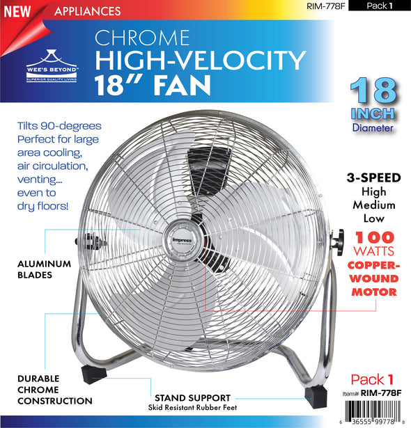 "#RIM-778F Chrome high velocity 18"" Fan (case pack 1 pc)"