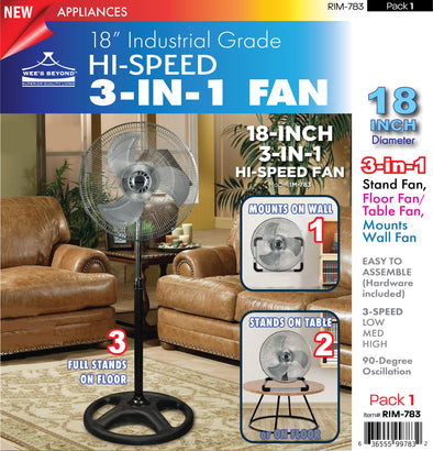 "#RIM-783 Industrial Grade Hi-Speed 3-IN-1 Fan 18"" (case pack 1 pc)"