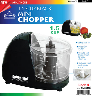 #RIM-846B Black Mini-Chopper 1.5-cup (case pack 6 pcs)