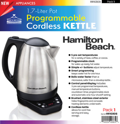 #RR1030S-40996z 1.7-Liter Pot Programmable Cordless Kettle (case pack 1 pc)