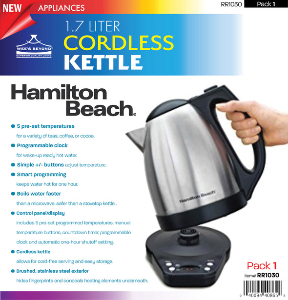 #RR1030-40870 1.7-Liter Stainless Steel Cordless Kettle (case pack 1 pc)