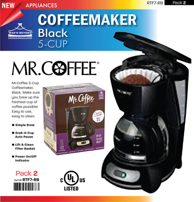 #RTF7-RB Mr. Coffee 5-cup Black Coffeemaker (case pack 2 pcs)