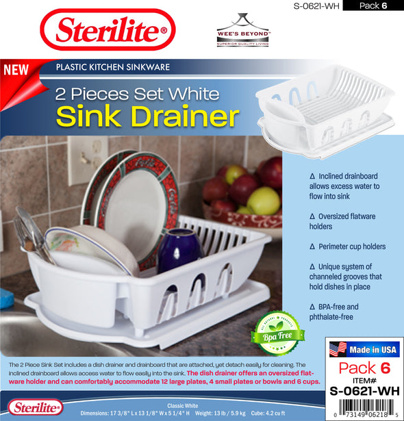 #S-0621-WH Sterilite Plastic 2 Pcs Drainer Sink Set - White (case pack 6 pcs)
