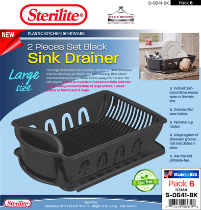 #S-0641-BK Sterilite Plastic Large 2 Pcs Drainer Sink Set - Black (case pack 6 pcs)