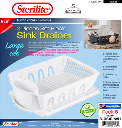 #S-0641-WH Sterilite Plastic Large 2 Pcs Drainer Sink Set - White (case pack 6 pcs)