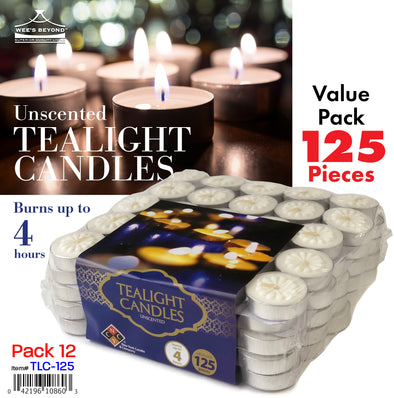 #TLC-125 Tealight Candles 125 Ct Value Pack (case pack 12 set)