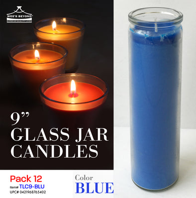 "#TLC9-BLU 9"" Glass Jar Candles- Blue (case pack 12 pcs)"