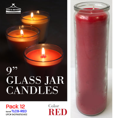 "#TLC9-RED 9"" Glass Jar Candles- Red (case pack 12 pcs)"
