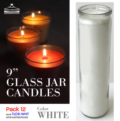 "#TLC9-WHT 9"" Glass Jar Candles- White (case pack 12 pcs)"